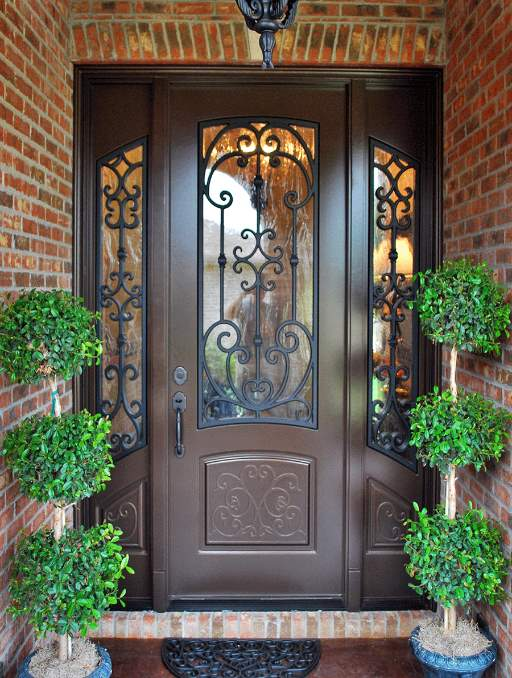 Paris Front Door featuring a Dark Single Rectangular Composite Iron Wood Door with Winterlake Glass and Side Lights