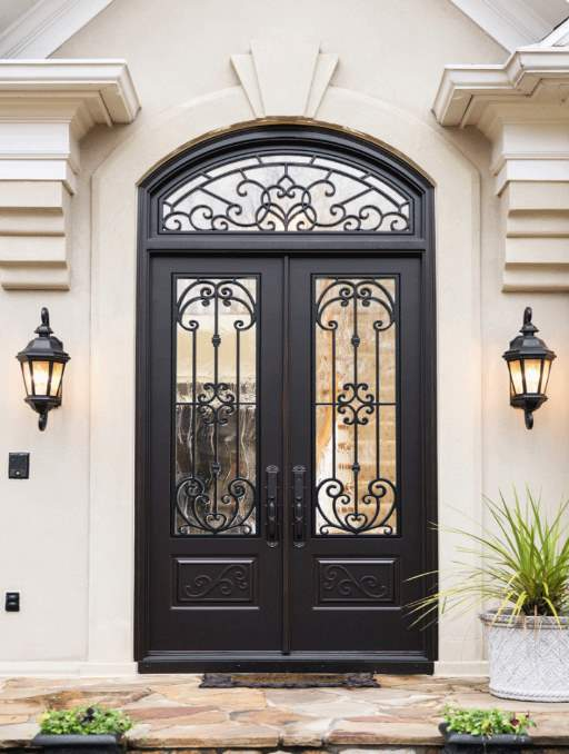 Paris Front Door featuring a Dark Double Rectangular Composite Iron Wood Door with Transom Winterlake Glass and Emtek Locksets
