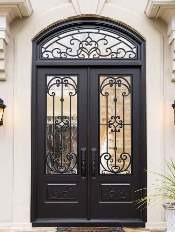 Iron-Style-Front-Entry-Door-Paris-3-Transom-Custom-Dark-Double-Rectangular-door-with-Winterlake-glass-and-Emtek-Locksets