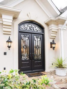 Paris Front Door featuring a Dark Double Rectangular Composite Iron Wood Door with Transom Winterlake Glass and Emtek Locksets