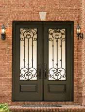 Iron-Style-Front-Entry-Door-Versailles-2-Beautiful-Custom-Dark-Double-Arched-door-with-Privacy-glass-and-Emtek-Locksets