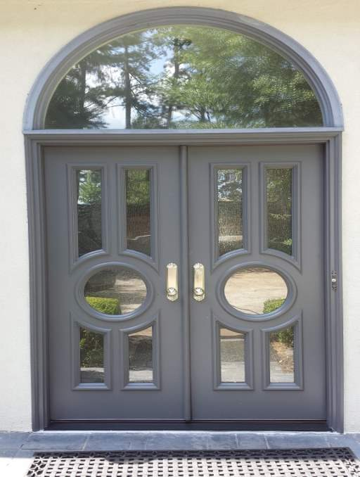 Modern Door featuring a Soft Blue Double Rectangular Composite Wood Door with Privacy glass and Transom Circles