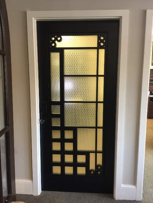 Modern Front Entry Door featuring a Bronze Single Rectangular Composite Wood Door with Privacy glass and Puzzle Interior