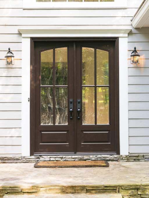 Modern Farmhouse Front Door featuring a Dark Double Rectangular Composite Wood Door with Winterlake Glass Emtek Locksets
